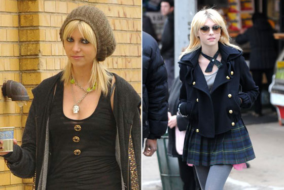 Taylor Momsen wearing Erin Kleinberg tops on the set of <em>Gossip Girl</em>.