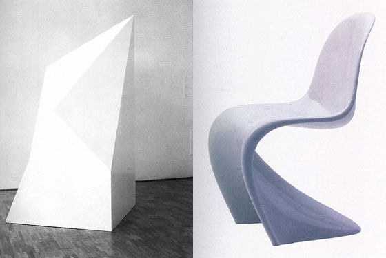 Sol LeWitt's Complex Form #46 (on left), alongside Verner Panton's widely imitated panton chair.