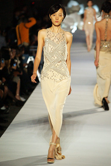 The designer's floaty nude dress.