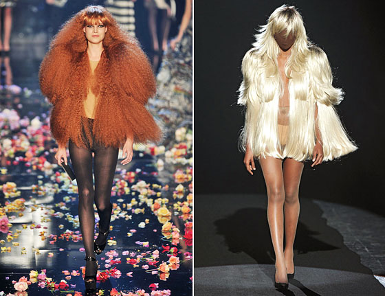 Hair jackets! Sonia Rykiel opted for a crimped red color, while Maison Martin Margiela's blonde version even included layers of feathering.