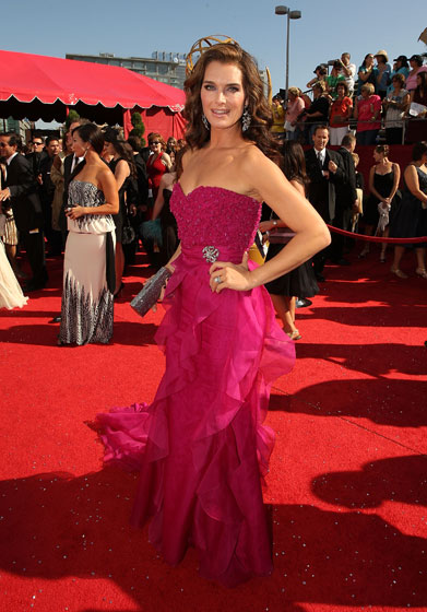 This Badgley Mischka dress is stunning. But fuchsia on a red carpet? Bold, Brooke, bold.