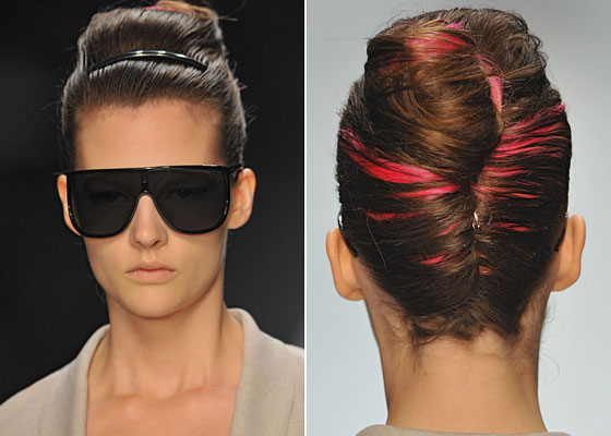 This French twist is locked in by a classic barrette in the front, but in the back is an infusion of color and highlights.