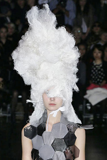 The tall white wigs Comme des Garçons.