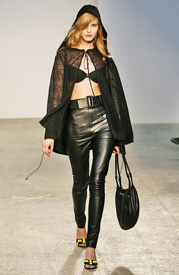 High-waisted pants now come in leather.
