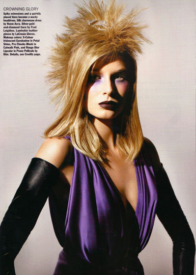 <em>Allure</em> thinks the fake hair sold in booths in malls makes a chic evening look. We think it makes Hana Soukupova's hair look like a hedgehog. Or the new mullet.