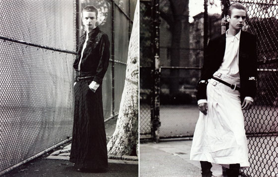 This model appears wearing a skirt in every shot of this ten-page spread. All the clothes were Comme des Garcons Homme. You know who else likes Comme des Garcons skirts for men? Marc Jacobs.