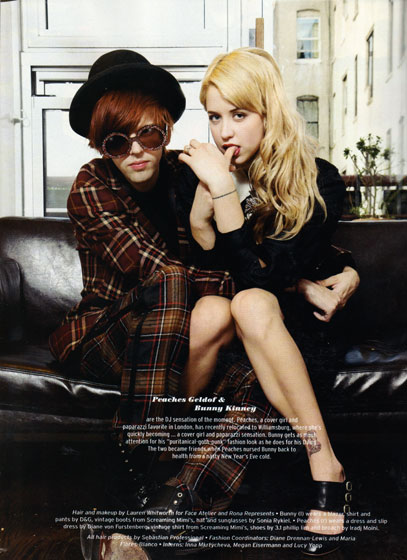 "Oh lookie, it's Peaches Geldof! And her best friend Bunny Kinney the Williamsburg-dwelling D.J.! They appear in a <em>Paper</em> spread about the ""New It Kids."" Just once we'd like to see Peaches in a magazine other than <em>Paper</em> or <em>Nylon</em> in a spread other than one about ""It"" people."