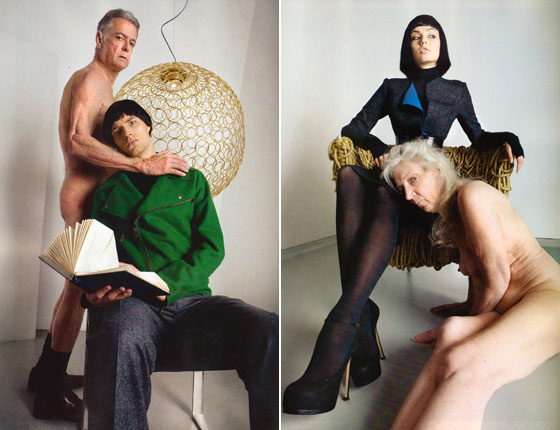 In both these pictures the naked people look like they really want to be wearing the Yves Saint Laurent clothes they're rubbing up on, and the models look like they'd give them up when hell freezes over. Well played.