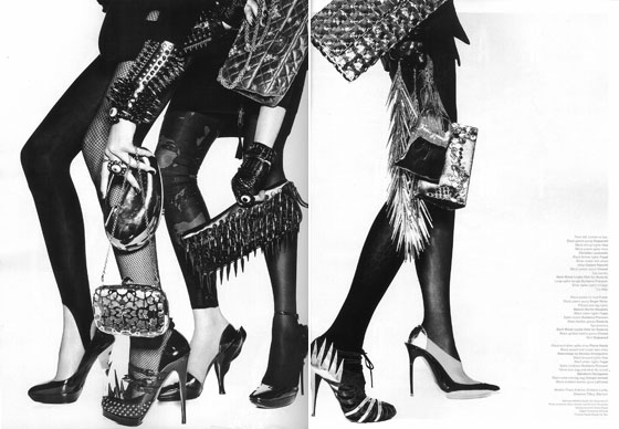 Shoes, bracelets, and bags by Christian Louboutin, Burberry, and Rodarte that look fit to kill a man? <emSwoon.</em>