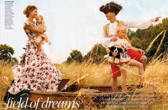 Natalia Vodianova poses with her family. We're really over this things-that-shouldn't-be-outside-sitting-outside concept for photo shoots. As if the boat weren't enough, her husband is half-clad in piratewear!