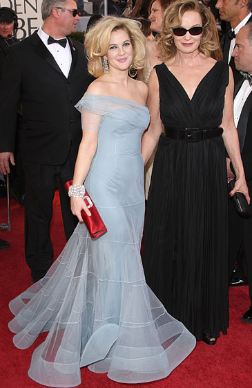 Drew Barrymore in Christian Dior and Jessica Lange in Roberto Cavalli.