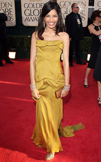 Freida Pinto in Christian Lacroix, with makeup by Jouer cosmetics.