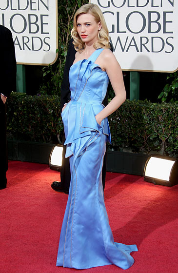 January Jones in Versace and a bracelet and studs by Van Cleef & Arpels.