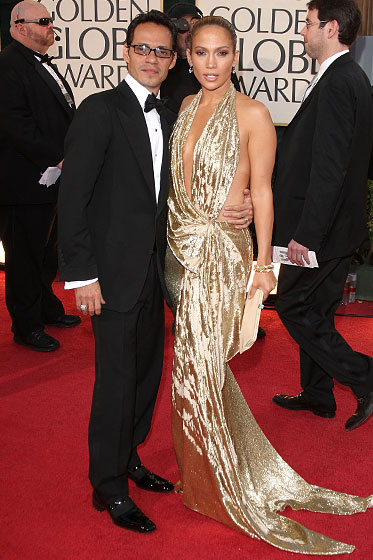 Jennifer Lopez in Marchesa, and Marc Anthony with a David Yurman ring.