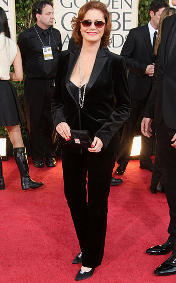 Susan Sarandon in a Prada suit and a clutch and shoes by Stuart Weitzman.