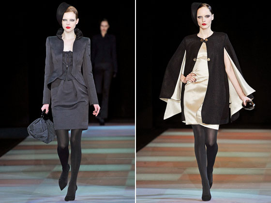 "Very few can cut a suit like <a href=""http://nymag.com/fashion/fashionshows/2009/fall/main/europe/womenrunway/giorgioarmani/"">Armani</a> can. We love the strong, yet subtle shoulders, the defined waist, and the flared jacket. His dual-tone cape adds just the right amount of drama to an evening."