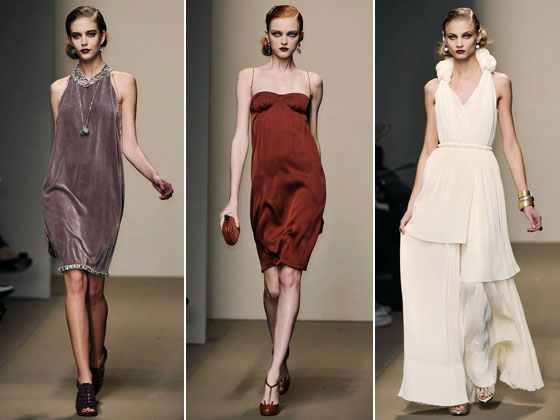 "<a href=""http://nymag.com/fashion/fashionshows/2009/fall/main/europe/womenrunway/bottegaveneta/"">Bottega Veneta's</a> curve-hugging dresses were sexy and flattering. Rusty red has become the standout color of the season."