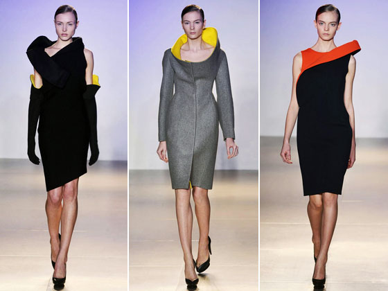 "<a href=""http://nymag.com/fashion/fashionshows/2009/fall/main/europe/womenrunway/jilsander/"">Jil Sander's</a> collection is always a hit. Last season we had the fringe dresses. This time, architectural collars that go in crazy directions. The hints of color were the perfect touch."