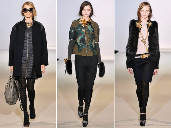 "<a href=""http://nymag.com/fashion/fashionshows/2009/fall/main/europe/womenrunway/marni/"">Marni</a> is the go-to collection for fashion girls. The layers this season, from the shaggy furs to cropped jackets, were the highlights. And the bold jewelry was eye-catching."
