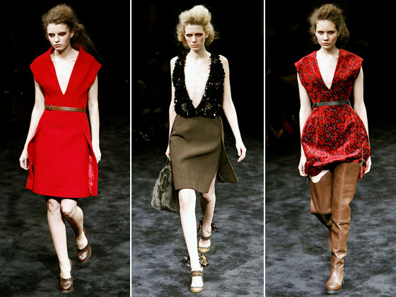 "There was a tough sexiness to <a href=""http://nymag.com/fashion/fashionshows/2009/fall/main/europe/womenrunway/prada/"">Prada's</a> collection this season. With plunging necklines and heavy fabrics, there was a distinct forties feel. Combined with the thigh-high wellies, you got the feeling these ladies could handle anything."
