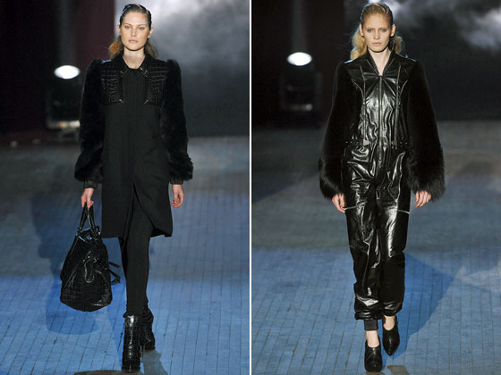 "The jumpsuit gets even more complicated in leather and fur at <a href=""http://nymag.com/fashion/fashionshows/2009/fall/main/newyork/womenrunway/alexanderwang/"">Alexander Wang</a>."