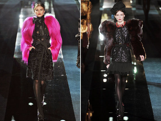 "The exaggerated shoulder is everywhere this season, even in thick fur at <a href=""http://nymag.com/fashion/fashionshows/2009/fall/main/europe/womenrunway/dolceandgabbana/"">Dolce & Gabbana</a>."