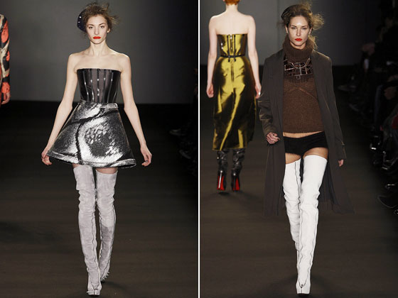 "At <a href=""http://nymag.com/fashion/fashionshows/2009/fall/main/europe/womenrunway/gilesdeacon/"">Giles Deacon</a>, we have a sheer top with a voluminous mini and underwear. Yes, underwear."