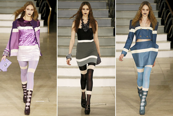 "<a href=""http://nymag.com/fashion/fashionshows/2009/fall/main/europe/womenrunway/houseofholland/"">House of Holland</a>'s colorful gradients extended to miniskirts and dresses."