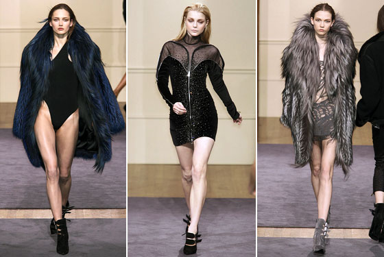 "<a href=""http://nymag.com/fashion/fashionshows/2009/fall/main/europe/womenrunway/julienmacdonald/"">Julien Macdonald</a> showed us you can wear just a bodysuit under fur. We were also given a barely-there knit dress."