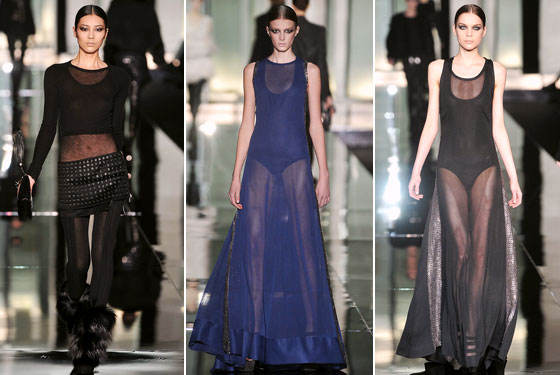"<a href=""http://nymag.com/fashion/fashionshows/2009/fall/main/europe/womenrunway/robertocavalli/"">Roberto Cavalli</a> offered up two major options in his collection. The first, a short mini with a crop top under a sheer shirt. The second, a bodysuit under a sheer dress. But the hemline on the second option is long!"