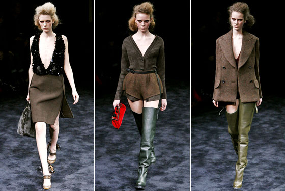 "With necklines plunging farther than anyone else's, and slits up to there, and thigh-high Wellies thrown in for good measure, <a href=""http://nymag.com/fashion/fashionshows/2009/fall/main/europe/womenrunway/prada/"">Prada</a>'s collection was tough but sexy."
