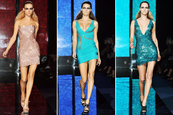 "<a href=""http://nymag.com/fashion/fashionshows/2009/fall/main/europe/womenrunway/versace/"">Versace</a>'s girls were held into their dresses by tape and sheer force of will. It's not Versace if it's not sexy."
