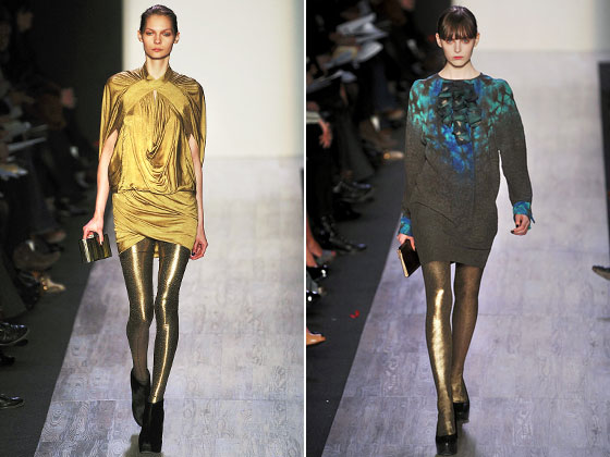 "<a href=""http://nymag.com/fashion/fashionshows/2009/fall/main/newyork/womenrunway/bcbgmaxazria/"">BCBG Max Azria</a> paired its minidresses with gold tights. Necessarily so for the dress on the left."