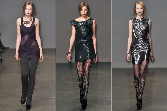 "<a href=""http://nymag.com/fashion/fashionshows/2009/fall/main/newyork/womenrunway/doori/"">Doo.Ri</a>'s trio of minidresses barely hit mid-thigh. She wisely skipped the rhinestone-lace tights on the shortest one."