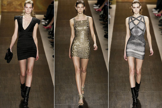 "The brand known for the short, tight dress: <a href=""http://nymag.com/fashion/fashionshows/2009/fall/main/newyork/womenrunway/herveleger/"">Herve Leger</a> showed high hemline after high hemline."