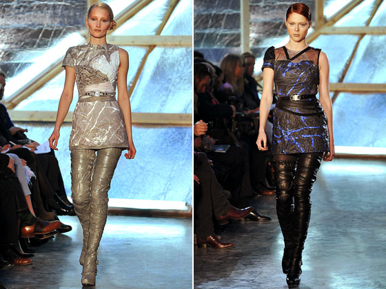 "<a href=""http://nymag.com/fashion/fashionshows/2009/fall/main/newyork/womenrunway/rodarte/"">Rodarte</a> kicked off the thigh-boot trend. The designers paired them with minidresses for every look."