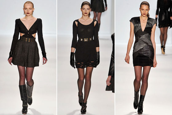 "<a href=""http://nymag.com/fashion/fashionshows/2009/fall/main/newyork/womenrunway/charlotteronson/"">Charlotte Ronson</a> showed deep necklines, cutouts, and high hemlines."