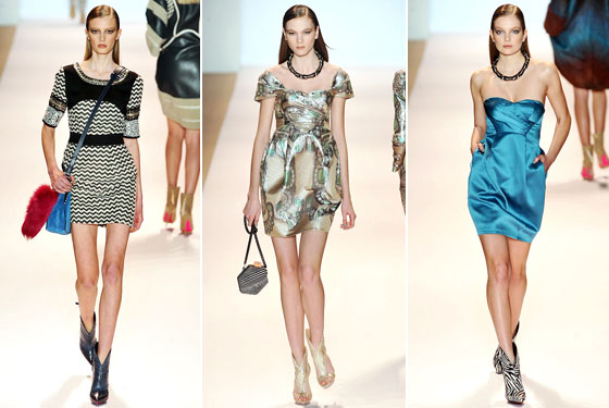 "<a href=""http://nymag.com/fashion/fashionshows/2009/fall/main/newyork/womenrunway/matthewwilliamson/"">Matthew Williamson</a>'s minidresses included the blue version that we saw Lindsay Lohan wearing during Fashion Week."