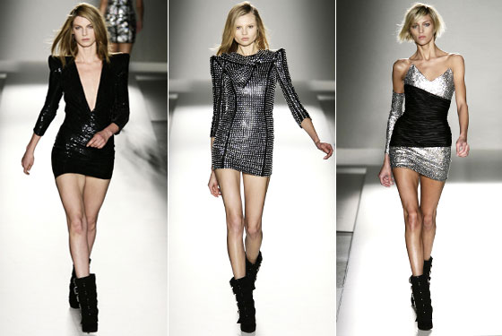 "Nobody does the rock-and-roll minidress quite like <a href=""http://nymag.com/fashion/fashionshows/2009/fall/main/europe/womenrunway/balmain/"">Balmain</a>. Of course, we hope the versions that hit stores are slightly longer."