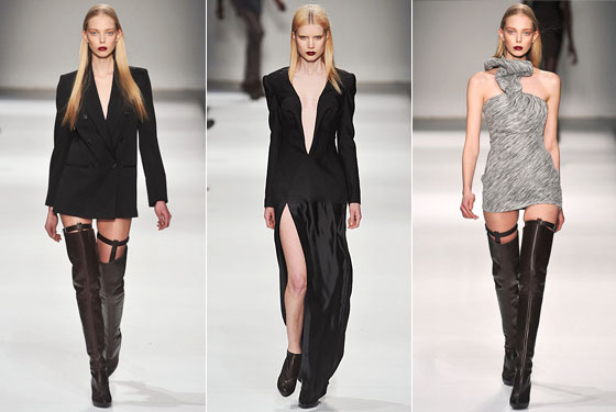 "Even <a href=""http://nymag.com/fashion/fashionshows/2009/fall/main/europe/womenrunway/husseinchalayan/"">Hussein Chalayan</a> got in on the skin-baring action, showing a blazer with just thigh-highs, a deep-neck dress with a high slit, and a minidress. When was the last time you thought of sexy and Chalayan in the same breath? Times are changing."