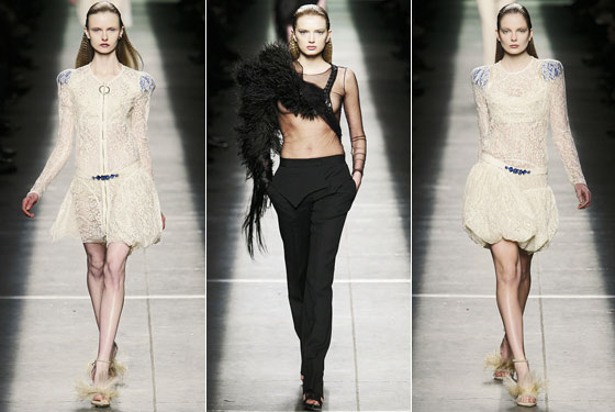 "<a href=""http://nymag.com/fashion/fashionshows/designers/bios/givenchy/"">Givenchy</a> ranged from overtly sexy outfits, like a sheer top, to more demure see-through lace dresses."