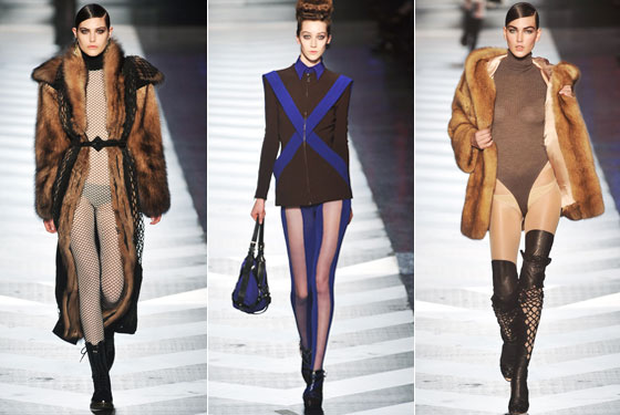 "<a href=""http://nymag.com/fashion/fashionshows/2009/fall/main/europe/womenrunway/jeanpaulgaultier/"">Jean Paul Gaultier</a> doesn't do small gestures. Instead, we have a mesh bodysuit, a jacket with dual-tone tights, and a  leotard with boots. Of course, we see London, we see France ..."