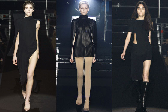 "Leave it to <a href=""http://nymag.com/fashion/fashionshows/2009/fall/main/europe/womenrunway/martinmargiela/"">Martin Margiela</a> to show the most daring slit of the season. And we can probably thank Lady Gaga for all the no-pants looks we've been seeing."