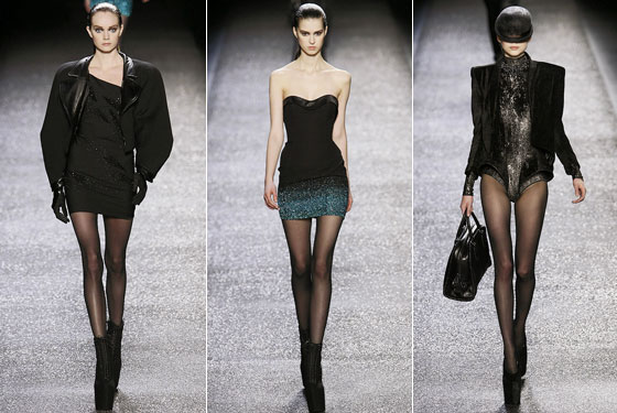 "The legs are officially the accessory for fall. <a href=""http://nymag.com/fashion/fashionshows/2009/fall/main/europe/womenrunway/ninaricci/"">Nina Ricci</a> showed minidresses and yes, another bodysuit."