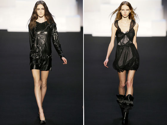 "<a href=""http://nymag.com/fashion/fashionshows/2009/fall/main/europe/womenrunway/sophiakokosalaki/"">Sophia Kokosalaki</a>'s leather and sheer dresses are downright demure compared to everything else we've seen."