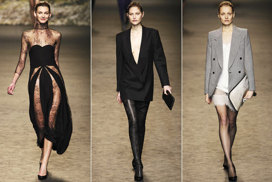 "<a href=""http://nymag.com/fashion/fashionshows/2009/fall/main/europe/womenrunway/stellamccartney/"">Stella McCartney</a>'s sheer-lace panels, deep necks, and high hemlines are right on trend."