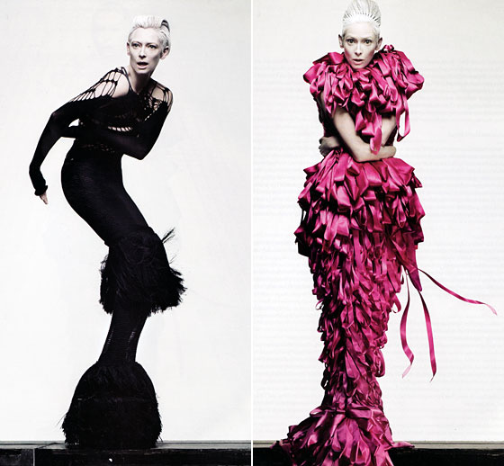 Screw Jay Manuel, who, with his E! cohorts, slams Tilda Swinton every time she walks the red carpet in an unbelted piece of Lanvin. She is fabulous and wears the Mark Fast gown, at left, or Craig Lawrence dress, at right, without letting the aggressive looks <em>wear her</em>. This is something at which an <em>ANTM</em> contestant would surely fail.