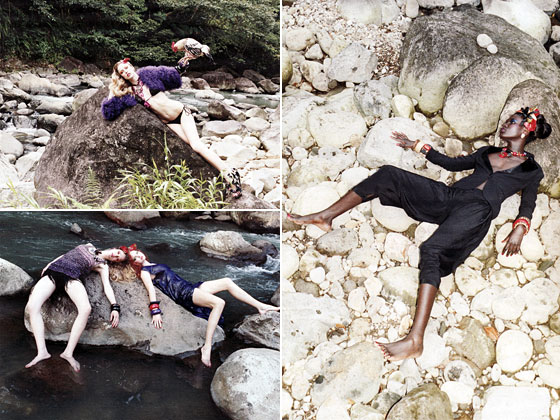 How are these models lying on these terribly uncomfortable-looking rocks with so little flesh to pad them? What happens if they slip off? How many cuts and bruises were Photoshopped out?