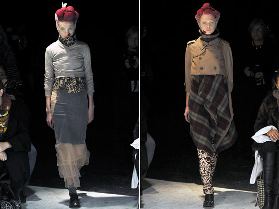 "<a href=""http://nymag.com/fashion/fashionshows/2009/fall/main/europe/womenrunway/commedesgarcons/"">Comme des Garcons</a>' plaid wool blankets were grafted onto a cropped trench coat for an oddly comforting look.