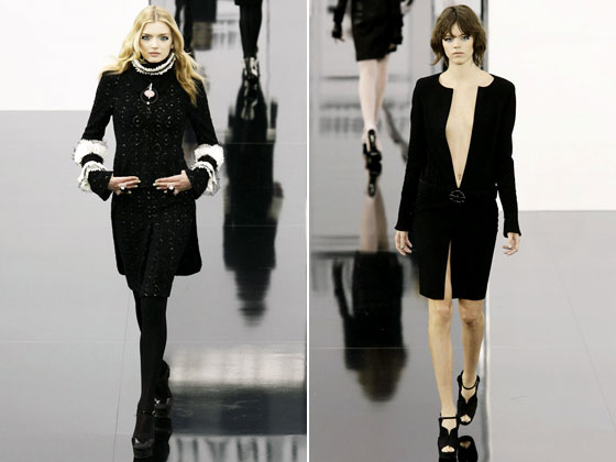 "Removable ruffs add charm to the classic black <a href=""http://nymag.com/fashion/fashionshows/2009/fall/main/europe/womenrunway/chanel/"">Chanel</a> suit, while plunging necklines make a simple LBD into something shocking."